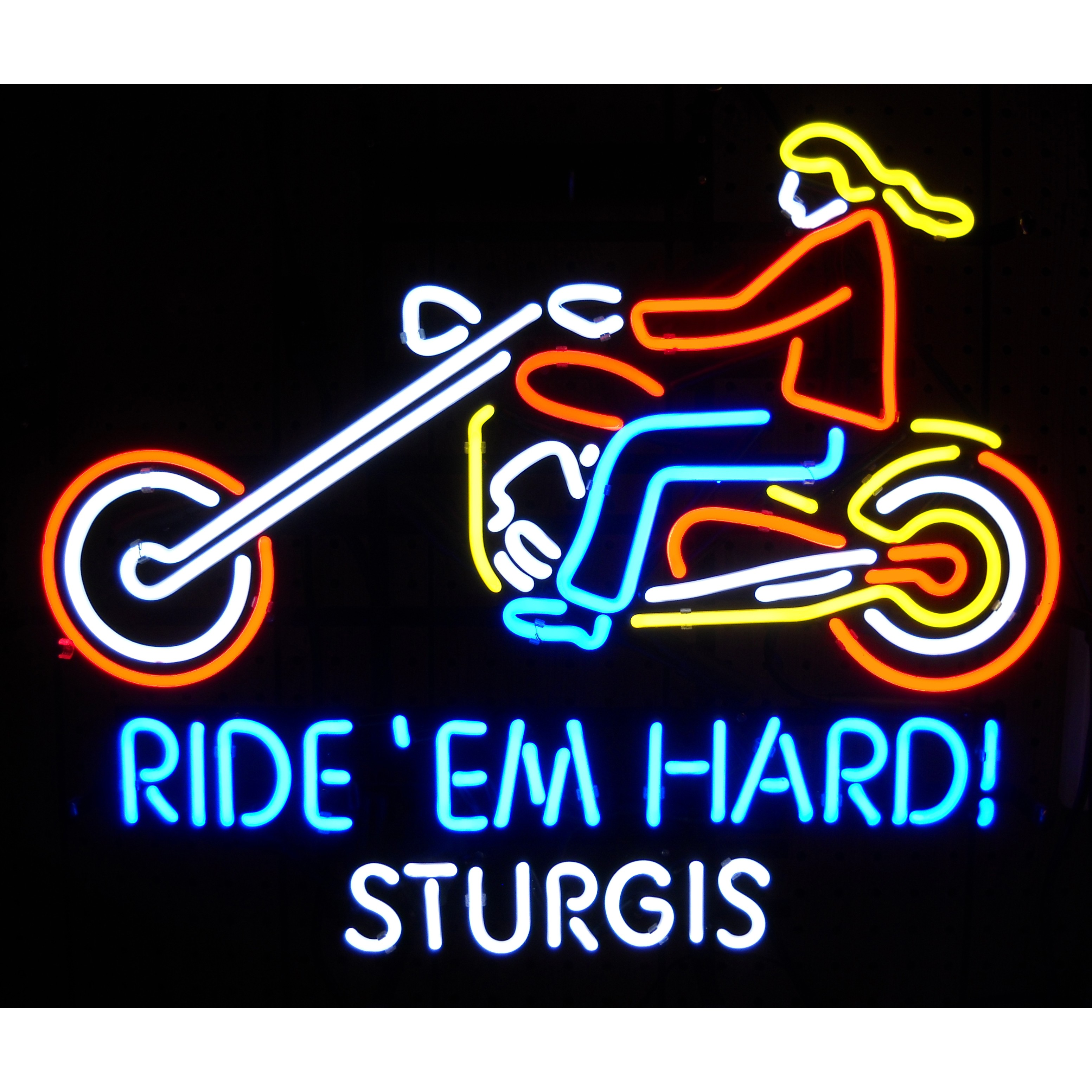 RIDE EM HARD STURGIS MOTOTCYLE NEON SIGN