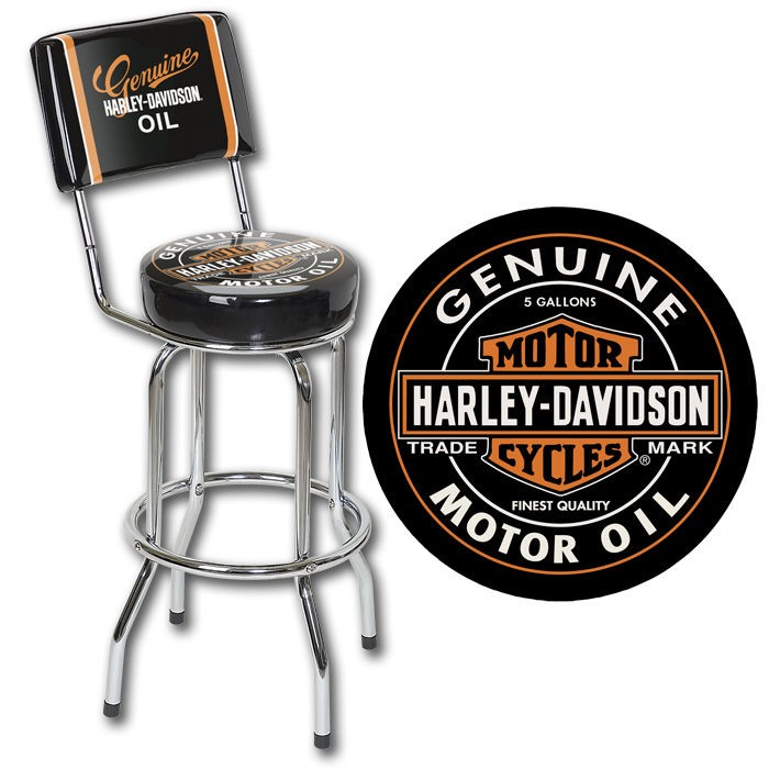 Harley-Davidson Oil Can Bar Stool w/ Backrest HDL-12203