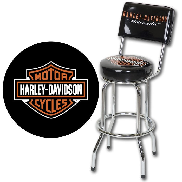 Harley-Davidson Bar & Shield Bar Stool w/ Backrest HDL-12204