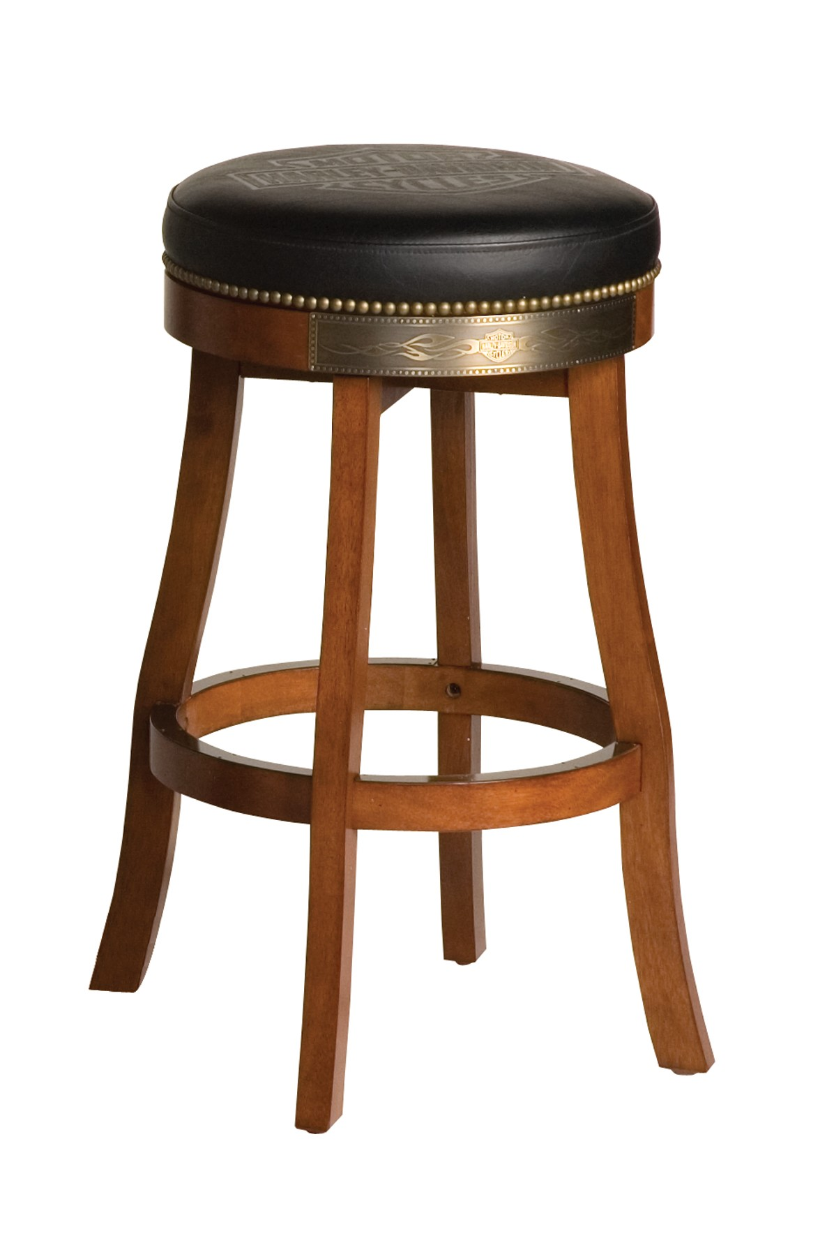 Harley-Davidson B&S Flames Bar Stool Heritage Brown Finish HDL-13120-H