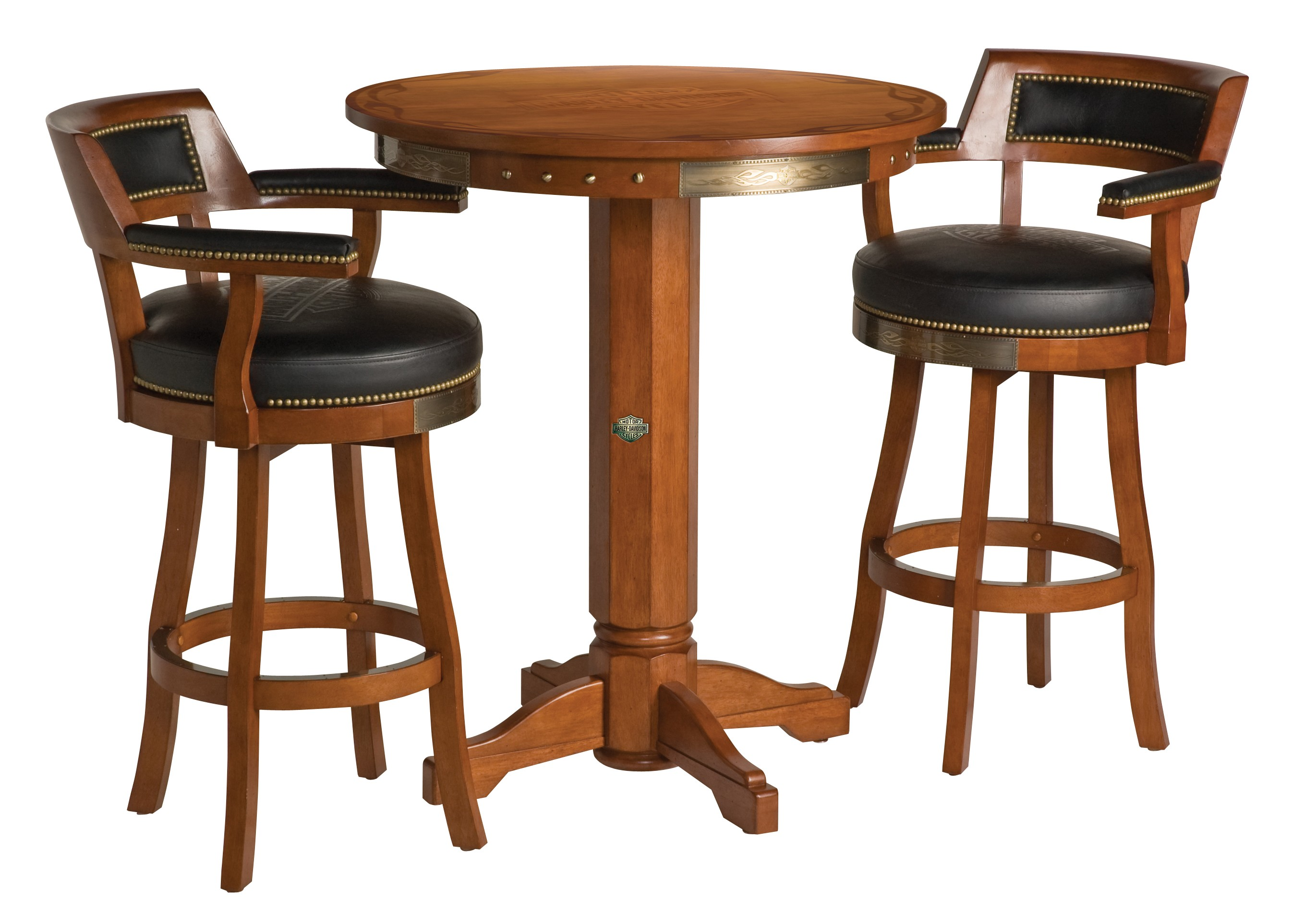 Harley-Davidson B&S Flames Pub Table & Backrest Stool Set Heritage Brown HDL-13201-H
