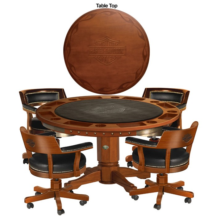 Harley-Davidson B&S Flames Poker Table & Chairs Set Heritage Brown Finish HDL-13300-H